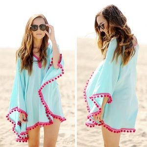 Teal & Pink Pom Pom Trim Beach Coverup / Poncho
